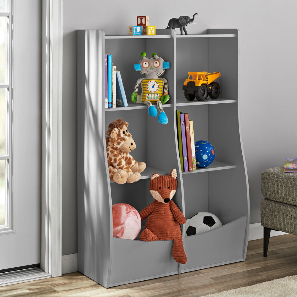 Your Zone Divided 2 Shelf Cubbie Storage Bookcase with Toy Bin, Multiple Finishes