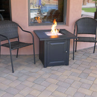 "28"" Matte Black Propane Fire Pit Table with Free Arctic Ice Glass, Lid, and Cover"