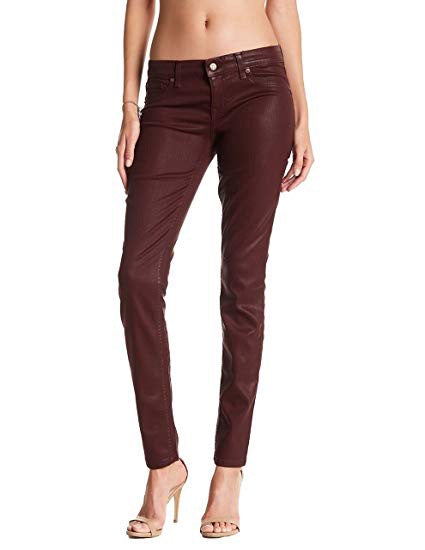Level 99® Women's Forever RED Mid Rise Coated Skinny Jeans, SIZE 26/2