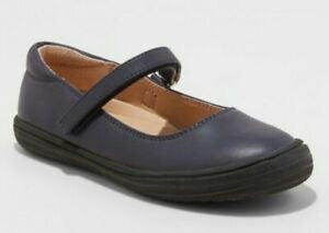 Cat & Jack Girls Youth Omega Ballet Flats W/Hook & Loop Straps Navy
