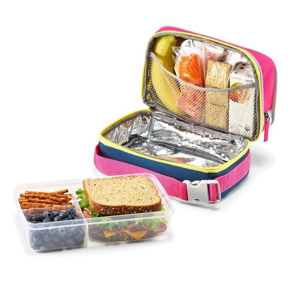 Fit & Fresh Expandable Bento Lunch Bag Set - Pink/Yellow