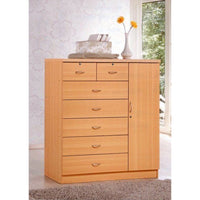 Hodedah 7-Drawer Dresser with Side Cabinet equipped with 3-Shelves, Beech