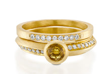 Load image into Gallery viewer, Unique Gold Wedding Ring Set with sapphire & diamond