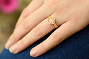 Diamond sapphire Engagement Ring 18k gold
