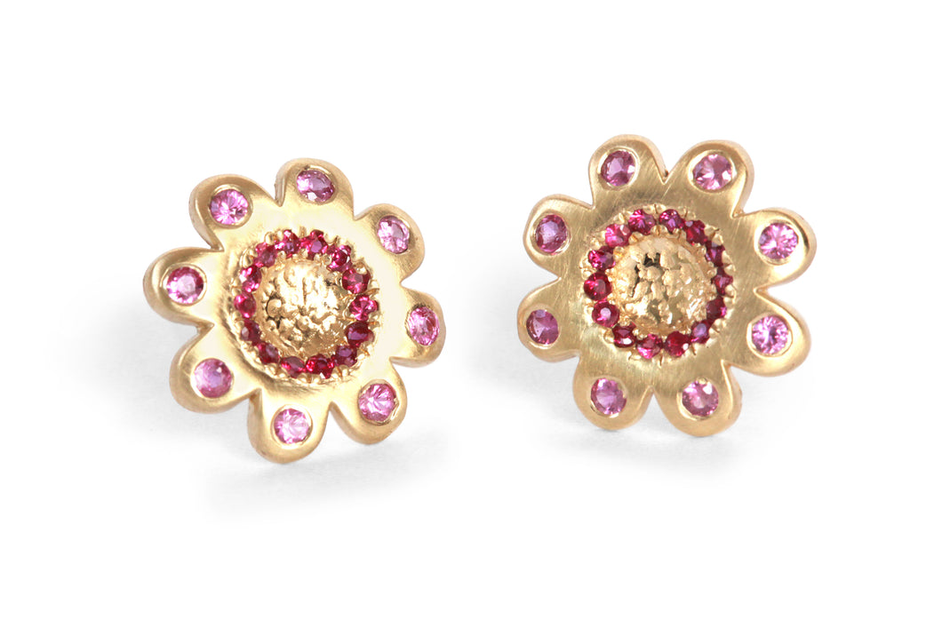 Stud Flowers Earrings Ruby Sapphire