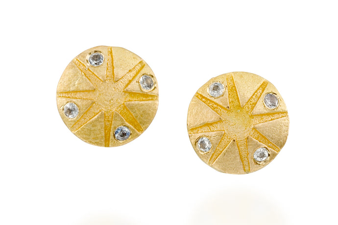 Sapphires Round Stud Earrings