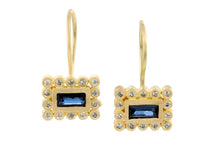 Load image into Gallery viewer, Sapphires Rectangle Earrings Gold
