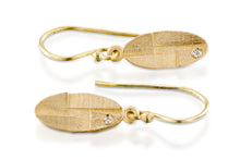 Load image into Gallery viewer, Diamond Ellipse Dangle Earrings 18k Gold