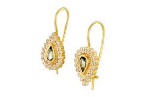 Drop Diamonds Sapphires Hanging Earrings