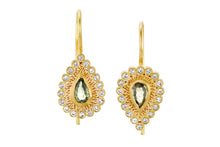 Load image into Gallery viewer, Drop Diamonds Sapphires Hanging Earrings