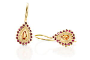 Drop Sapphires Rubies Hanging Earrings