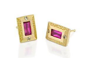 Rectangle Ruby Studs Earrings