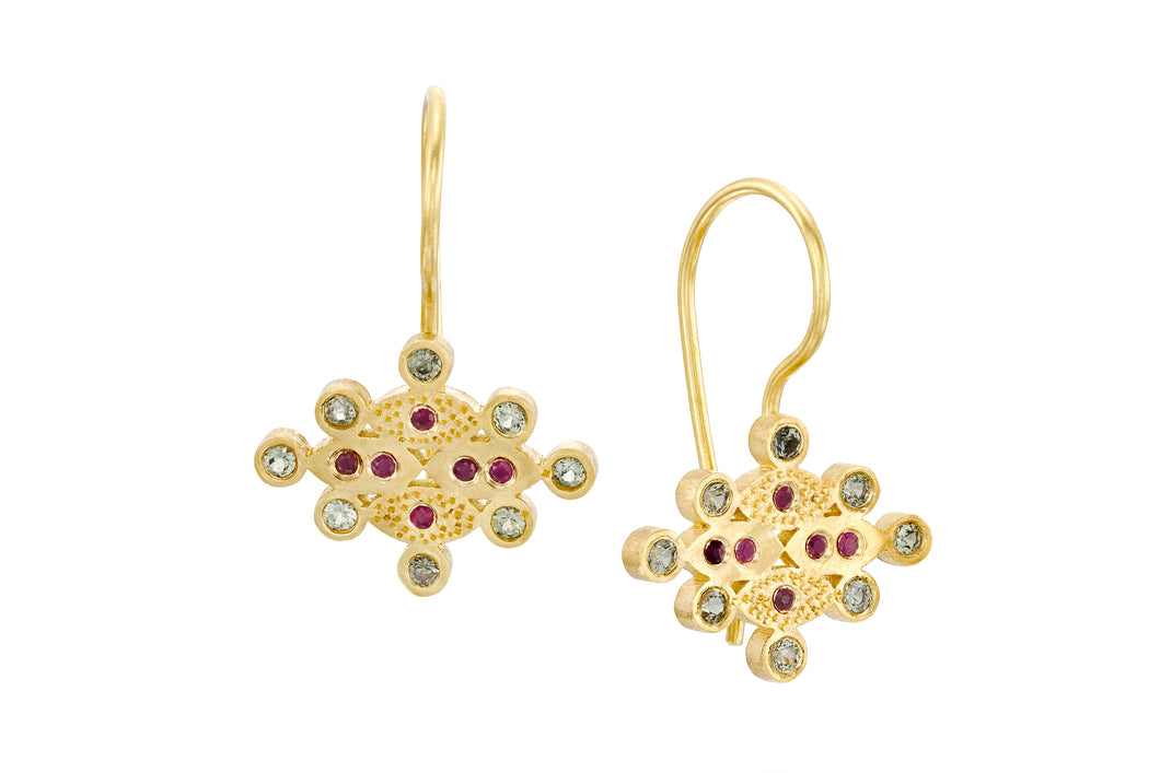Ruby Sapphires  Dangle Earrings