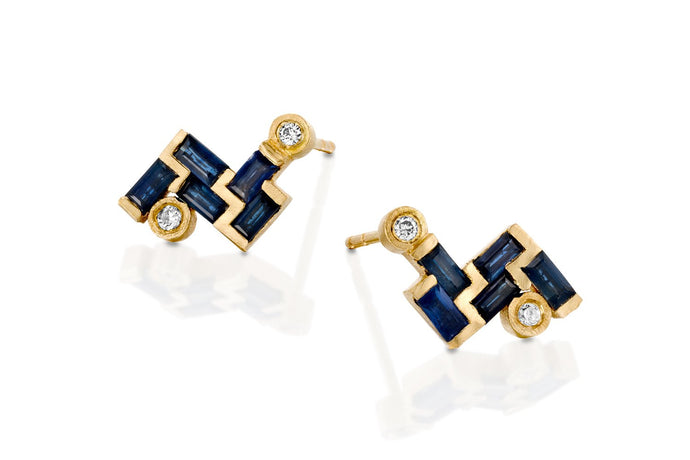 18k Gold Earrings set with Rectangle Blue sapphire & Champagne diamond