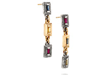 Load image into Gallery viewer, 18k Gold & Silver Earrings Set with Rectangle Blue, Yellow Sapphire & Ruby