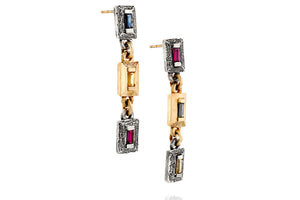 18k Gold & Silver Earrings Set with Rectangle Blue, Yellow Sapphire & Ruby