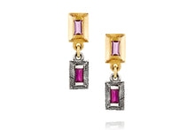 Load image into Gallery viewer, 18k Gold & Silver Earrings Set with Rectangle Pink Sapphire & Ruby