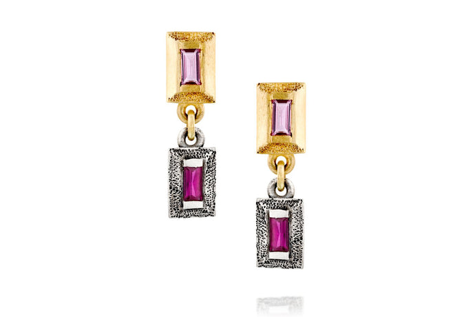 18k Gold & Silver Earrings Set with Rectangle Pink Sapphire & Ruby
