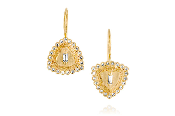 18k Gold Earrings set with Rectangle Champagne Diamond, White Diamond