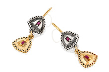 Load image into Gallery viewer, 18k Gold  ,Silver Earrings set with Rectangle Ruby