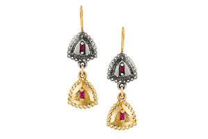 18k Gold  ,Silver Earrings set with Rectangle Ruby