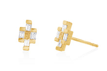 Load image into Gallery viewer, Stud  Post Earrings with Baguette Rectangle Diamonds