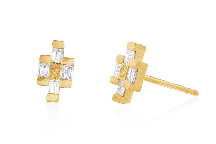 Stud  Post Earrings with Baguette Rectangle Diamonds