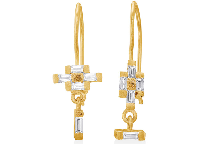 Hanging Earrings baguette Diamonds