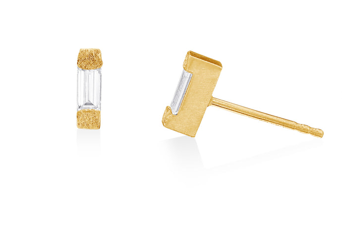 Stud Post Earrings with Baguette Diamonds