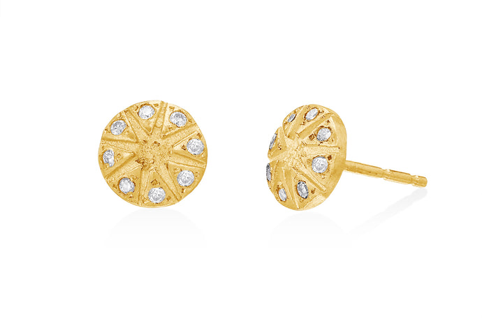 Stud Earrings with  Round Diamonds