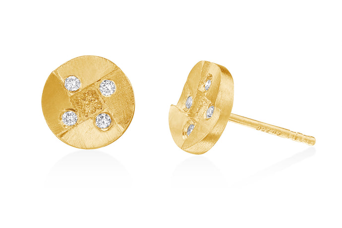 Diamonds Round Stud Earrings