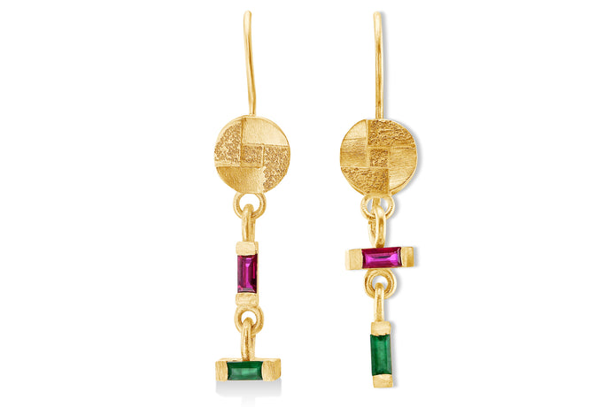 Hanging  Earrings baguette Ruby&Emerald