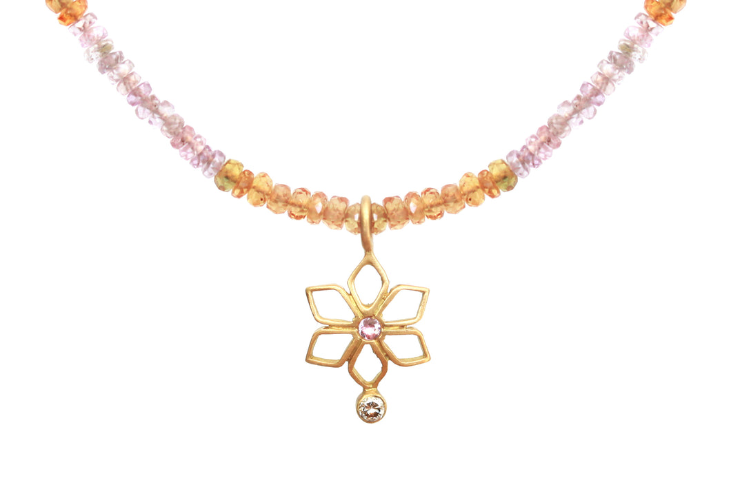 Light Sapphires Floral Necklace