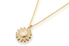 Load image into Gallery viewer, Diamond Sapphire Round Necklace 18k Gold
