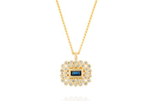 Blue Sapphire Rectangle 18k Necklace