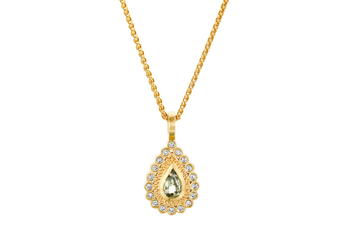 Sapphire Diamonds Drop Necklace Gold