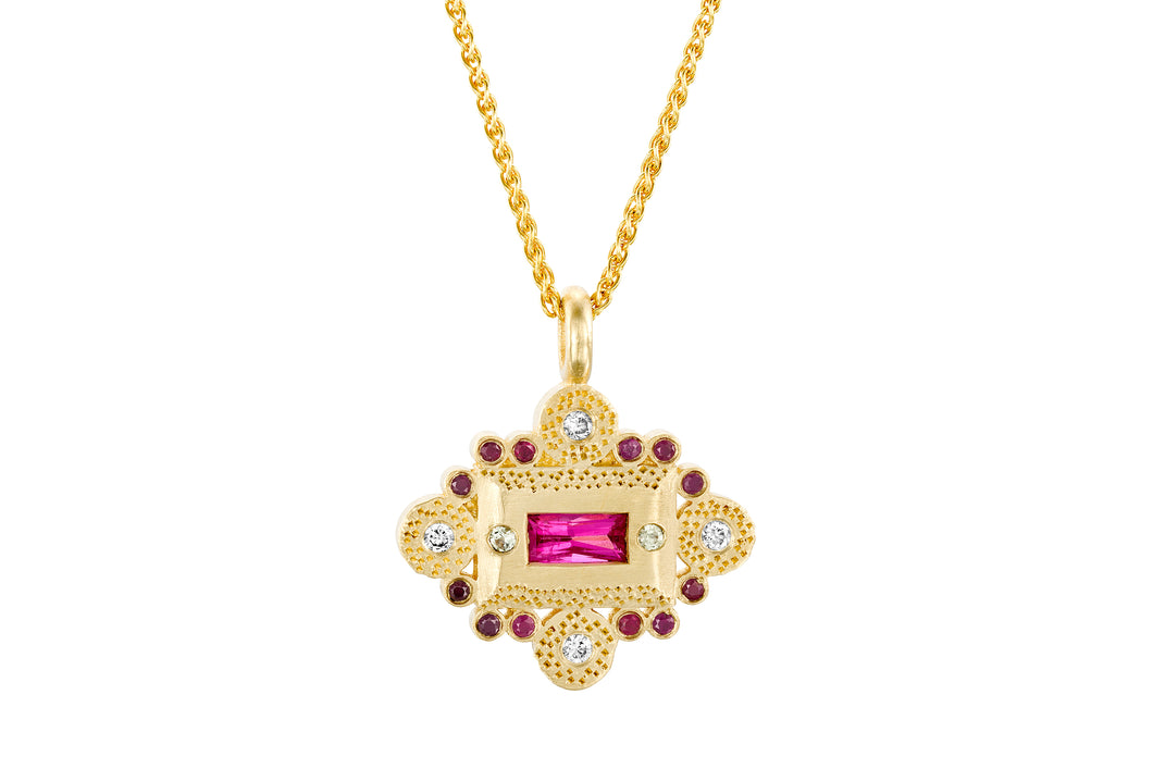 Ruby Diamond Necklace Gold