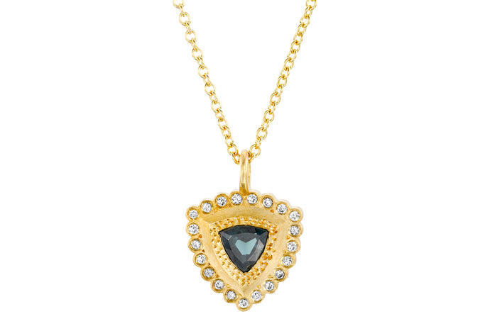 Gold Necklace with Teal Sapphires, Diamonds