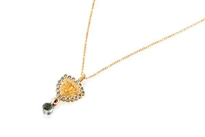 18k Gold Necklace set with Yellow Sapphire, Blue Sapphire and Tourmaline