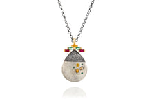 Load image into Gallery viewer, 18k Gold & Oxidized Silver Necklace set with Yellow Sapphire, Ruby, Emerald & Tsavorite