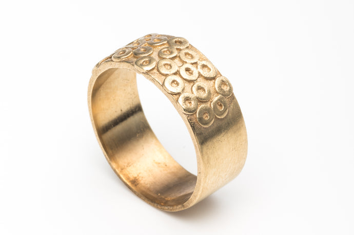 Wide Alternative Wedding Ring in 14k gold