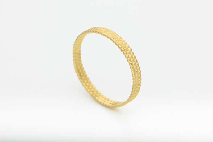 Thin 14k yellow gold dots wedding band