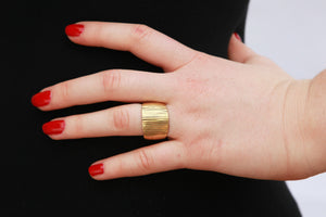 Alternative Unique Wide Wedding Ring in 14k Gold