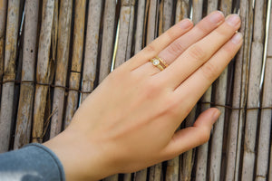 Wedding ring set stackable Gold