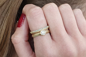 Stacking Ring Wedding Set Gold