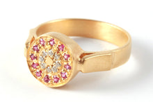Load image into Gallery viewer, Diamond sapphire Engagement Ring 18k gold