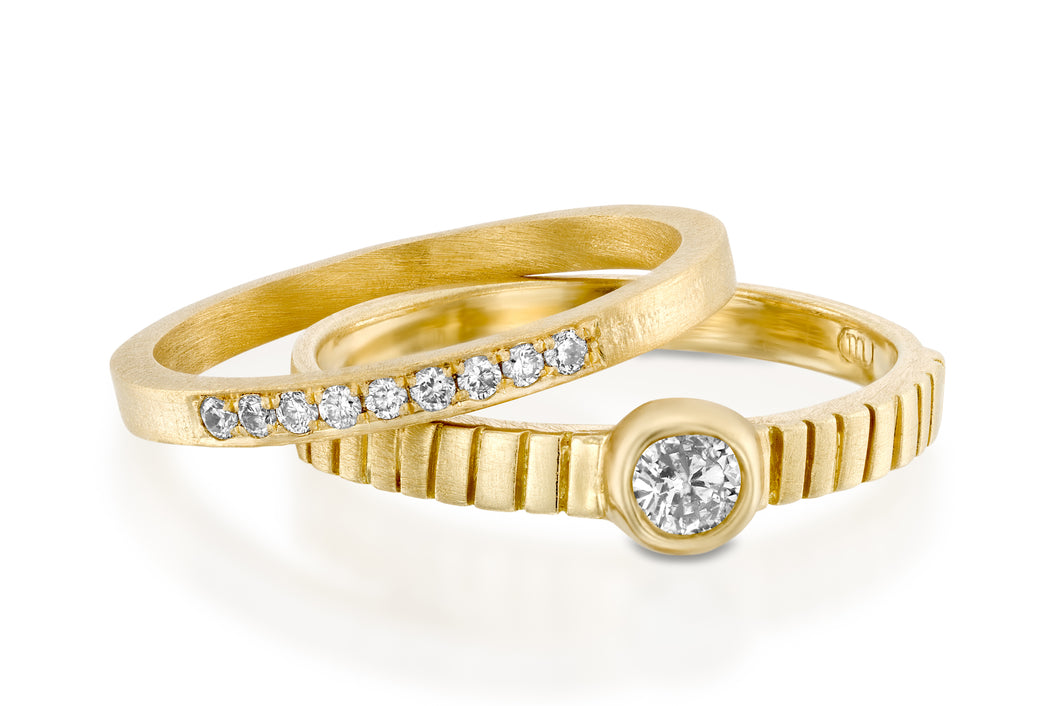 Stack Wedding Rings Set with Diamonds