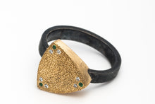 18k Gold Silver Ring with Diamonds and Tsavorites