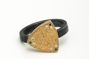 18k Gold Silver Ring with Diamond and Tsavorite