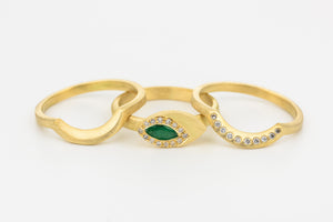 Stacking Wedding Rings Set with Emerald, Diamonds